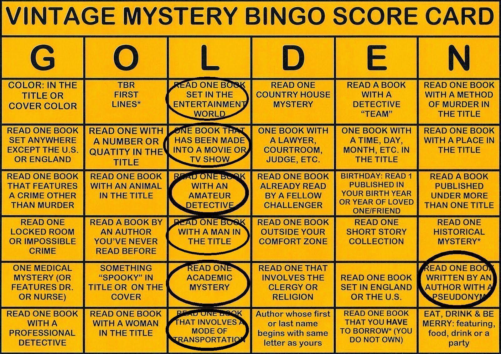 Vintage Golden Bingo Card 2015 to date